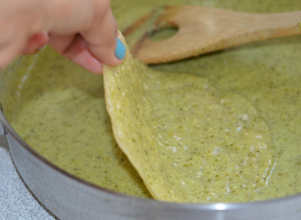 Dipping in the salsa verde