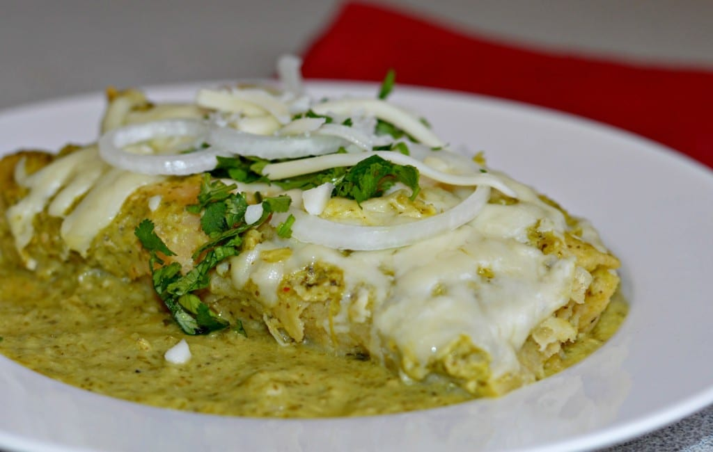 enchiladas verdes on the plate and ready to serve