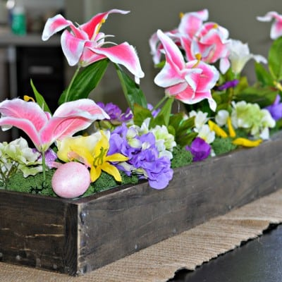 Springtime DIY Wooden Box Centerpiece