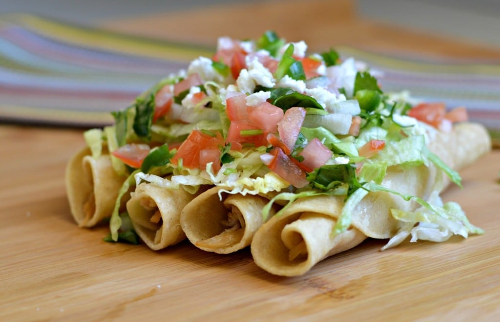 chicken flautas with toppings