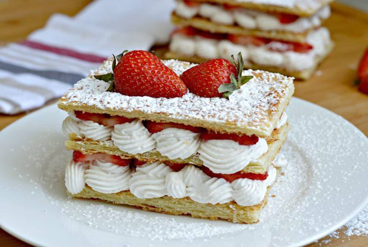 Strawberry and Cream Napoleon Recipe - sweet layers of fresh whipped cream an strawberries between layers of puff pastry.