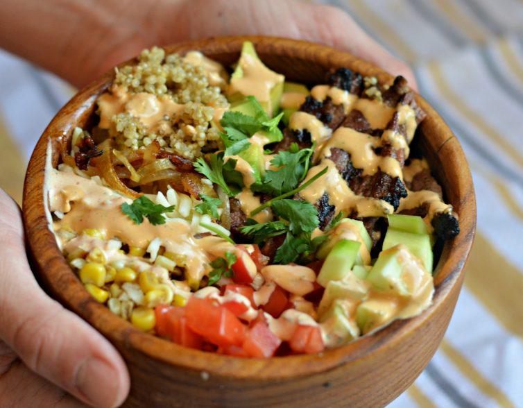 Carne Asada Quinoa Bowl with Creamy Chipotle Lime Dressing