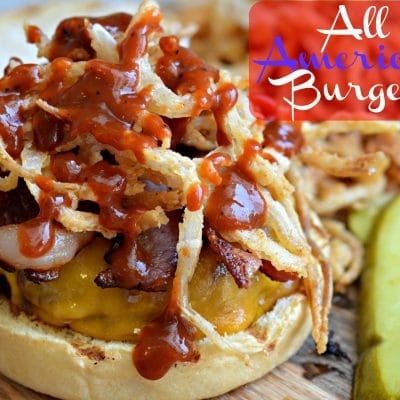 All-American Burger with Crispy Onion Strings