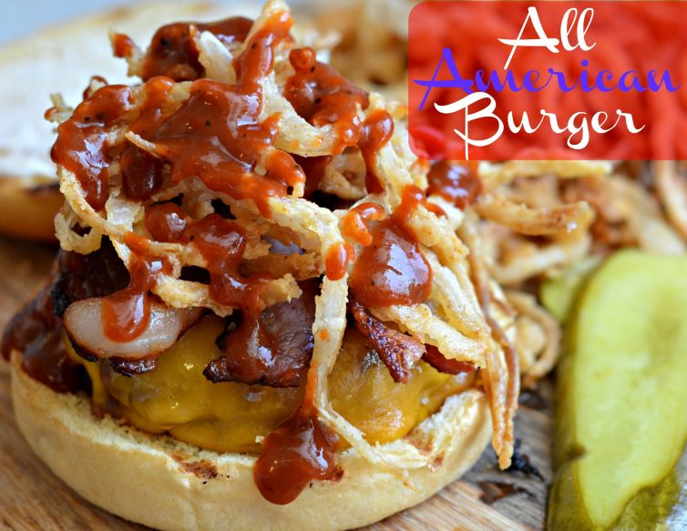 all american burger with crispy onion strings my latina table