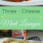 This three cheese meat lasagna combines mozzarella, provolone, and parmesan cheese with italian sausage and ground beef for an explosion of flavor!