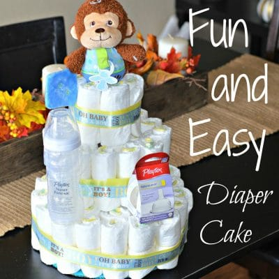 Fun and Easy Diaper Cake – Great For Baby Showers