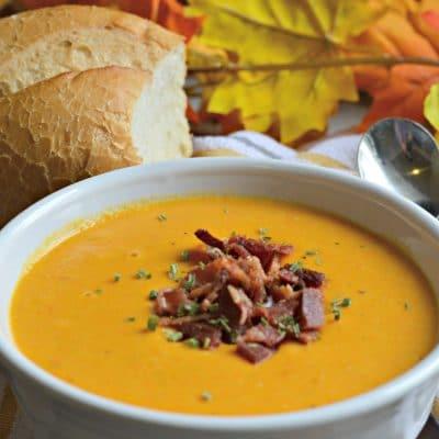 Sopa de Calabaza y Camote con Tocino