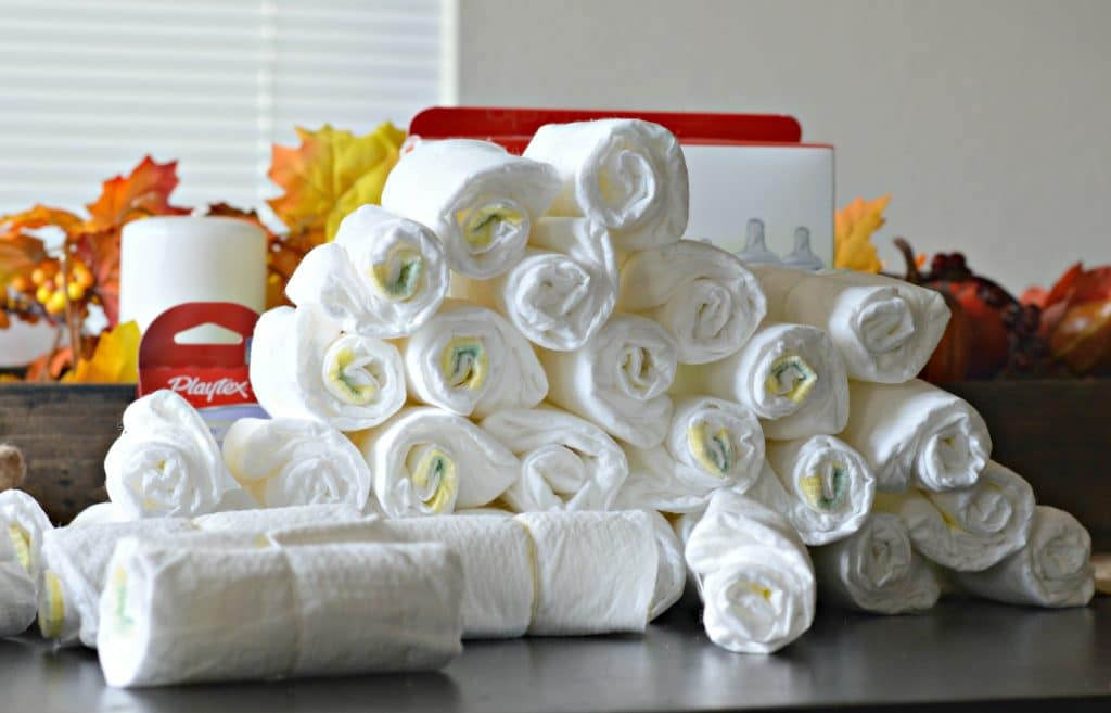 Master this Diaper Cake and you will be the hit at your next baby shower. It is easy and fun to make!