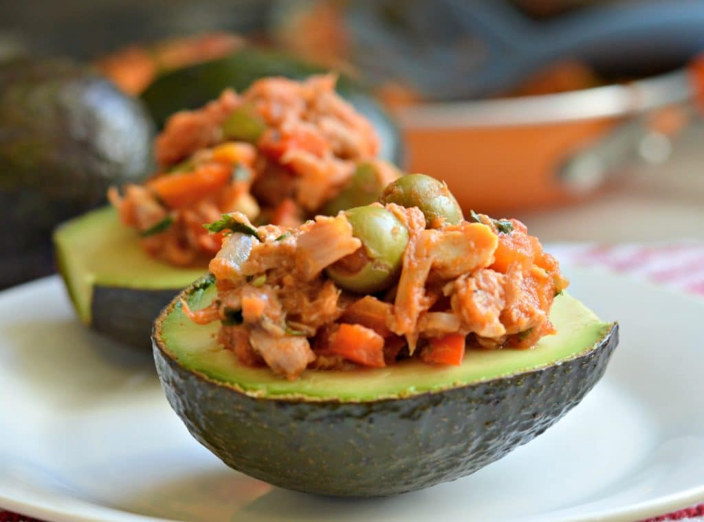 Viscaina Style Tuna Stuffed Avocados