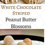 These White Chocolate Striped Peanut Butter Blossoms are perfect for holiday gifts and more. They are super easy to make too!