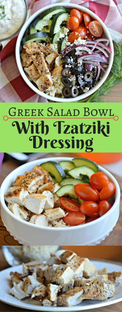 This Greek Salad Bowl with Tzatziki Dressing is perfect if you are trying to eat healthy but want something delicious! Check it out now.