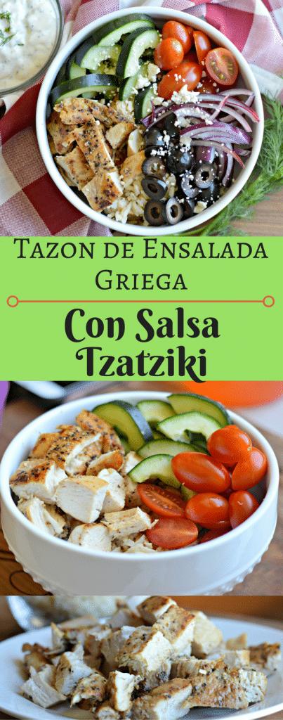 Este Tazon de ensalada griega con salsa tzatziki es perfecta si quieres comenzar a comer mas saludable. Pruebalo hoy!