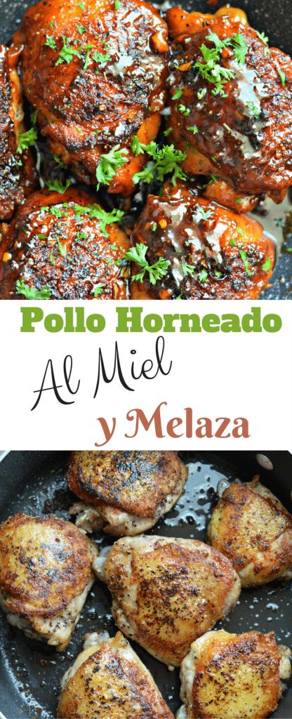 Esta receta de Pollo Horneado al Miel y Melaza ademas de deliciosa y jugosa y facil para hacer. Sigue leyendo para aprender como hacer este deliciosa platillo!