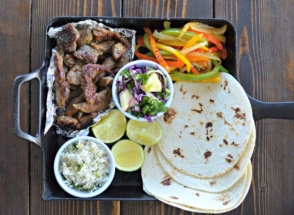 Pork Fajitas with Hawaiian Slaw and Coconut Cilantro Lime Rice