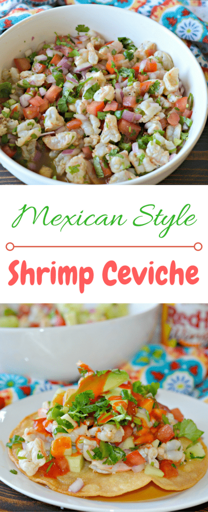 Shrimp Ceviche made with shrimp, lime juice, avocado, jalapeño, cilantro and finished off with Frank's RedHot for some delicious heat.