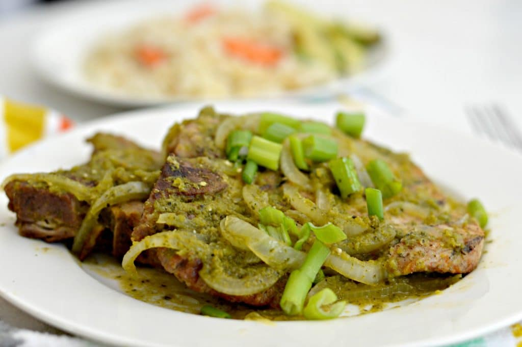 Salsa Verde Grilled Pork Chops combines amazing flavor with a hint of spice for a delicious meal for any occasion.