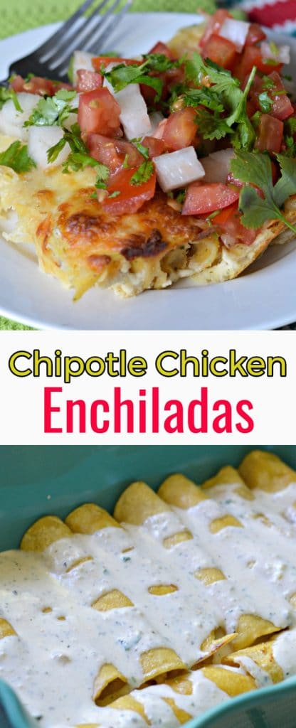 Chipotle Chicken Enchiladas made with homemade alfredo sauce and pico de gallo is a delicious twist on a Mexican classic.