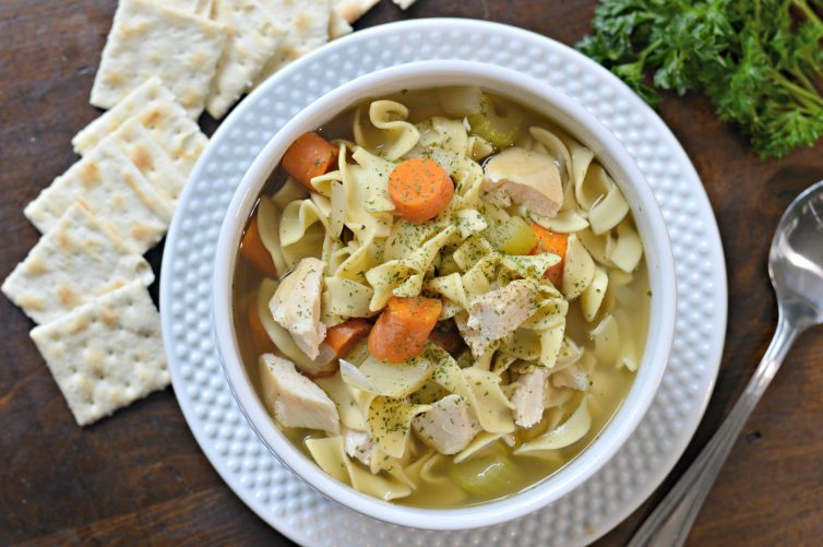 Slow Cooker Chicken Noodle Soup is the perfect recipe for the fall when cold season starts rolling in.