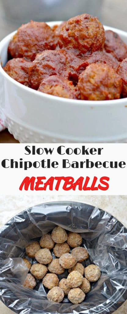 Slow Cooker Chipotle-Barbecue Sauce Meatballs are easy to make, taste delicious, and are perfect for busy weeknights.