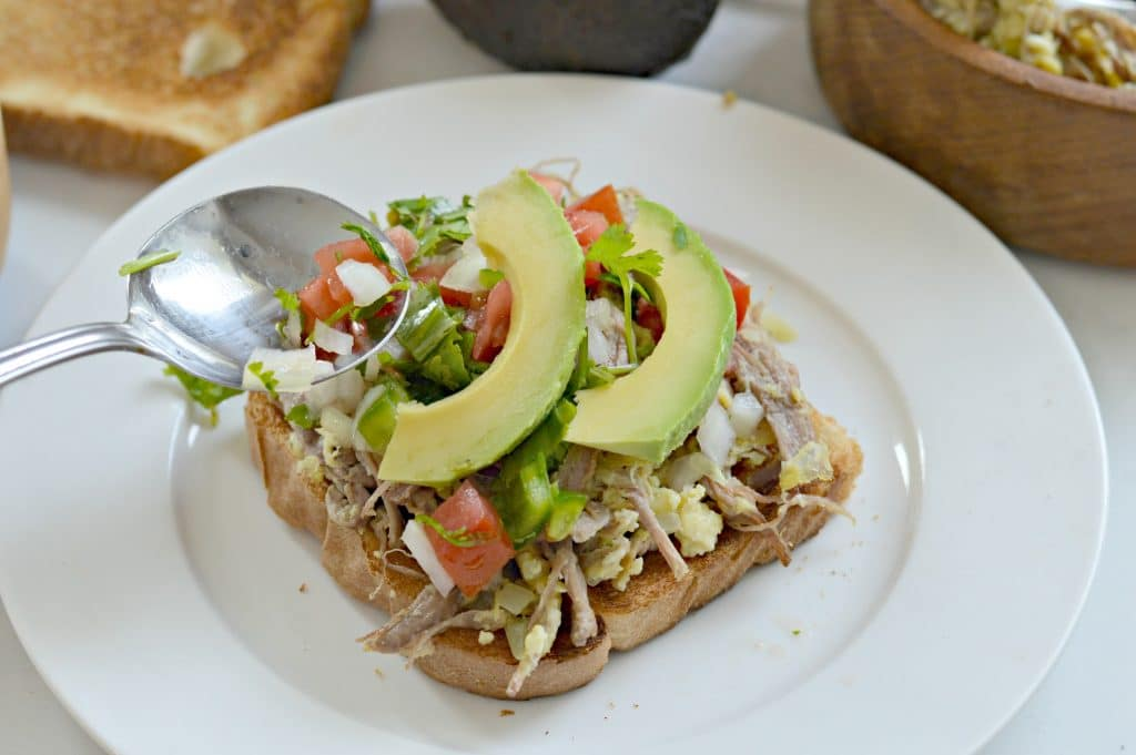 Avocado Toast with Machaca Eggs and Pico de Gallo is a perfect way to use delicious Avocados From Mexico.