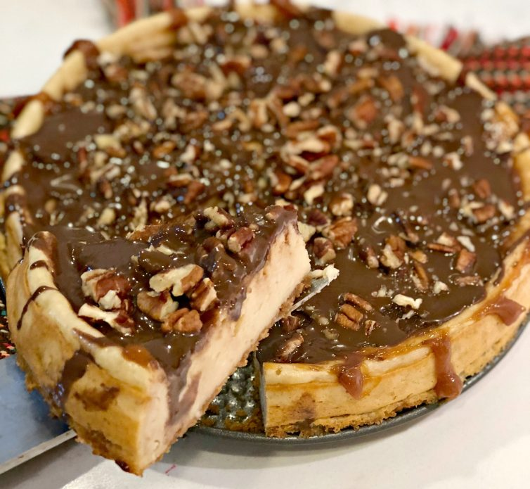 This Easy Turtle Cheesecake Recipe is a perfect option for the holidays, and you can make it so easily with the new Cheesecake Factory at Home™Cheesecake Mixes.