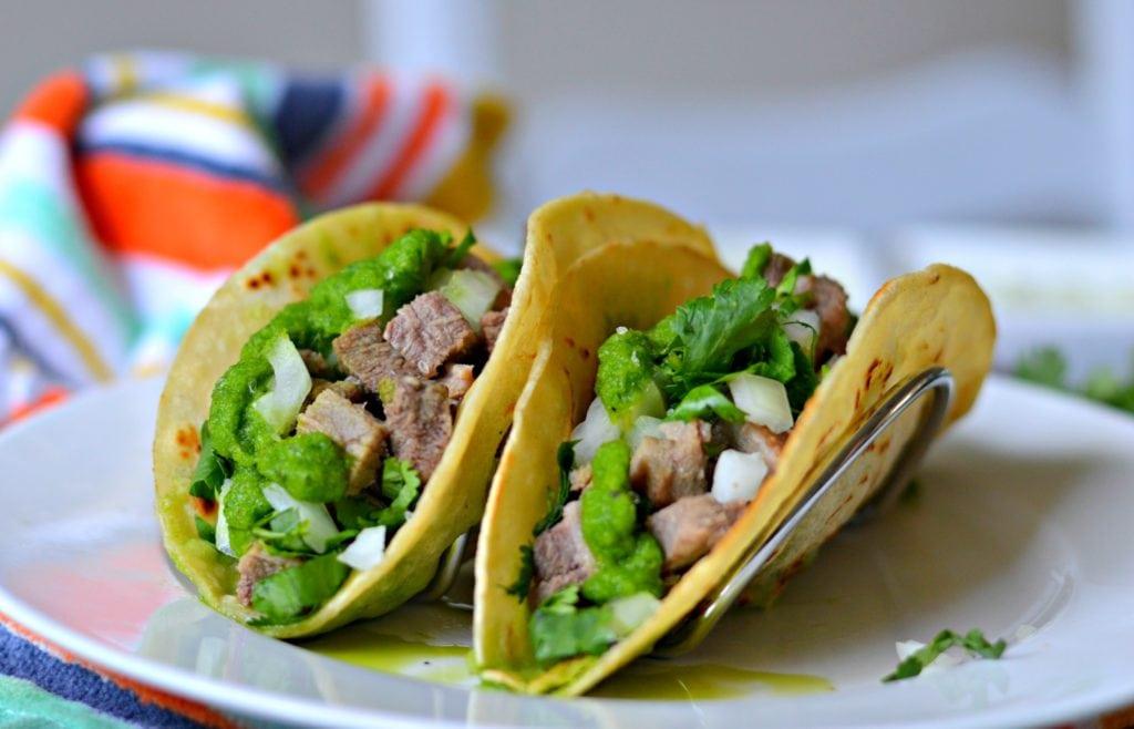 tacos de lengua with corn tortillas - beef tongue
