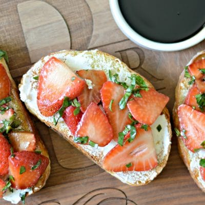 Strawberry-Basil Bruschetta Recipe with Honey-Balsamic Glaze