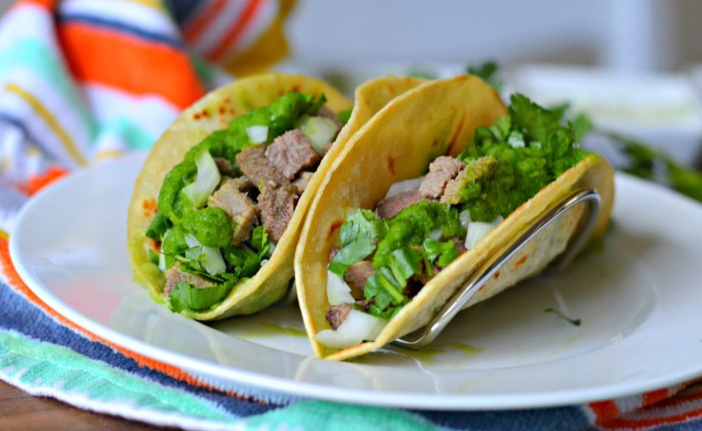 Beef tongue tacos ready to eat - tacos de lengua