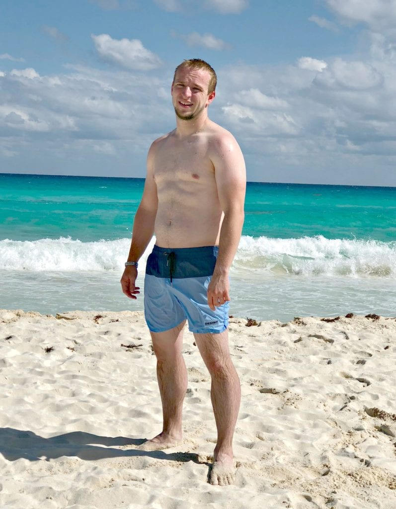 Daniel on the beach in cancun