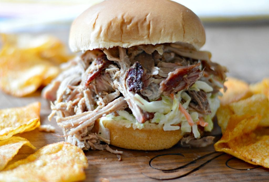 Smoked Pulled Pork Sandwich with Cole Slaw and Chips