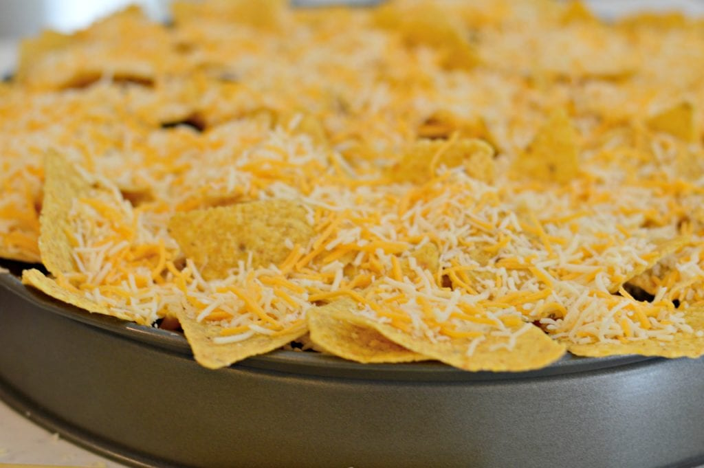 Smoked Nachos with shredded cheese