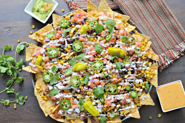 Smoked Nachos made on a wood pellet grill with all the fixings