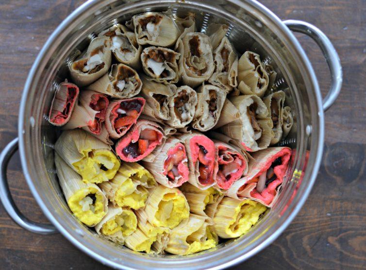 Sweet tamales in steamer