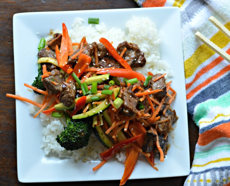 Delicious beef stir fry recipe plated and ready
