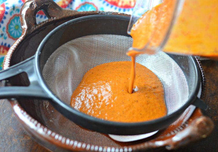 camarones a la diabla Mexican spicy shrimp sauce in strainer