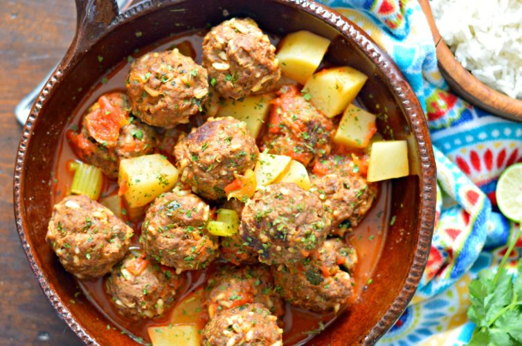 Mexican meatballs (albondigas mexicanas) top view