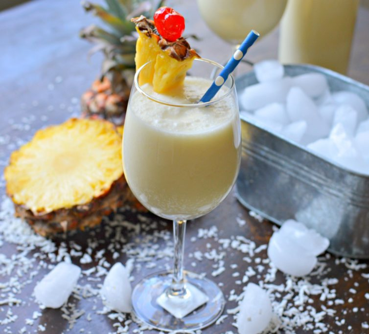 virgin pina colada from the side
