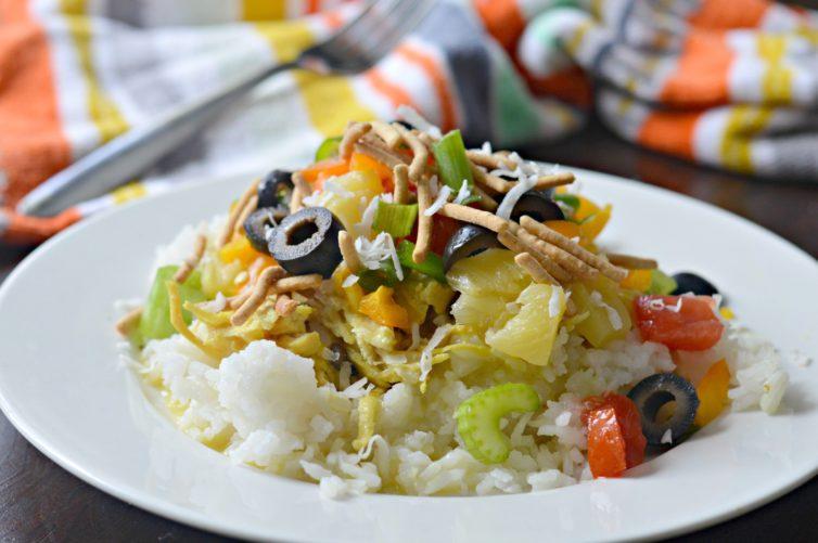 Hawaiian Haystacks with all ingredients