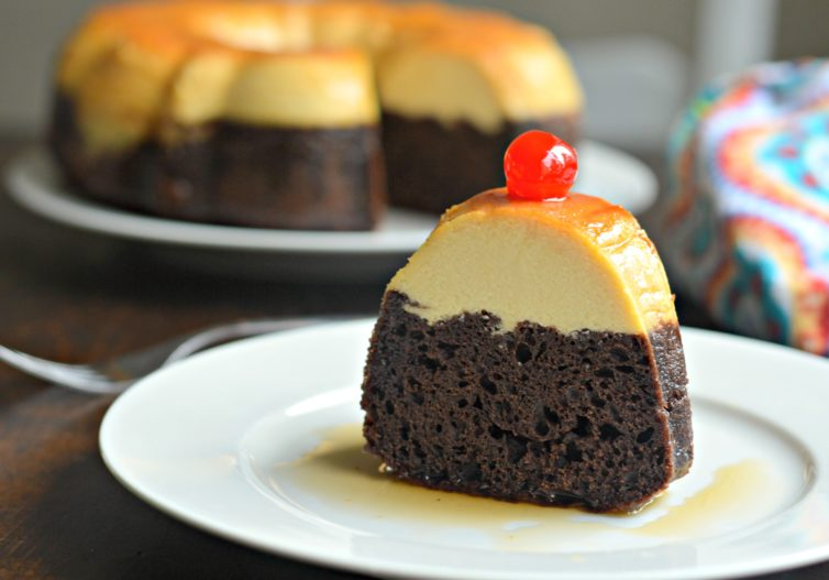 Chocoflan piece with cherry on top