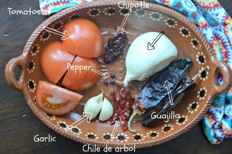 camarones a la diabla - ingredients
