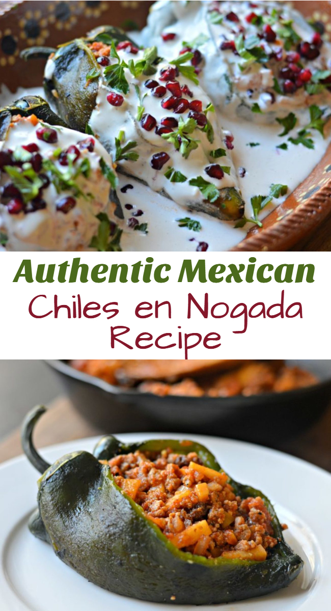 Inside: Keep reading to find out how to make this delicious chiles en nogada recipe; made with poblano peppers, stuffed with seasoned ground beef, and smothered in a delicious, creamy salsa