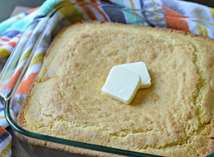 Delicious cornbread with butter