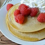 Healthy Pancakes with cream and raspberries
