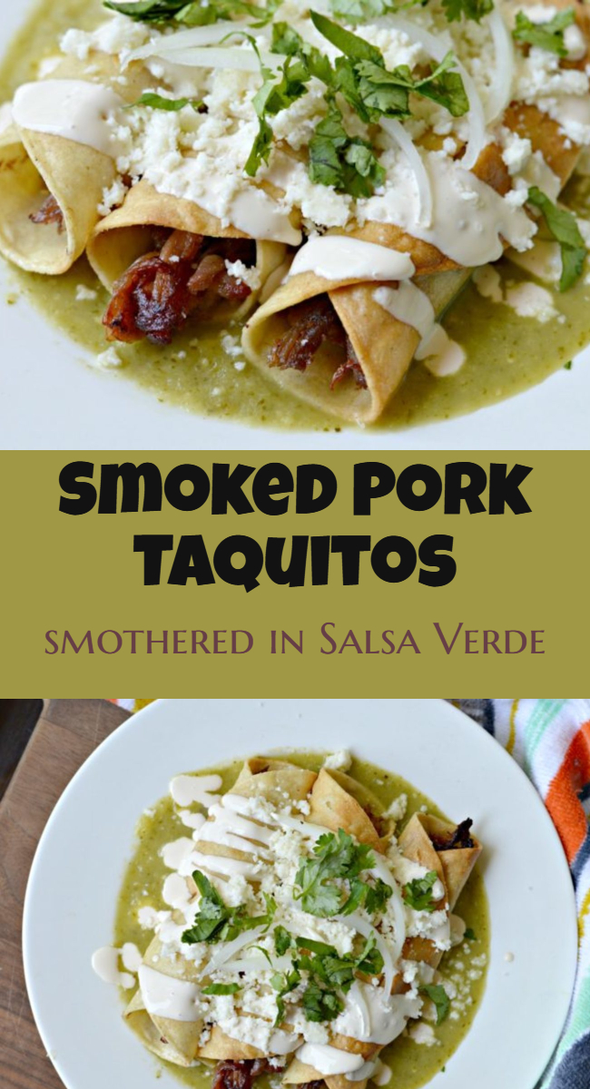 Make these delicious smoked pork taquitos for lunch or any other meal. They are delicious, easy to make and are finished off with an amazing homemade salsa verde.