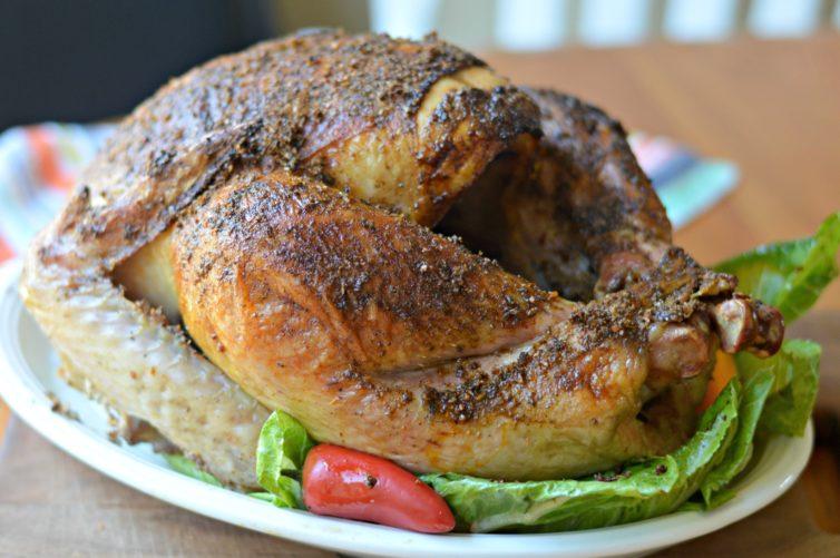 smoked turkey on platter
