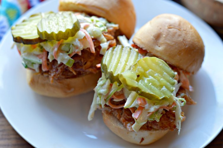 Slider form of BBQ Pulled Chicken