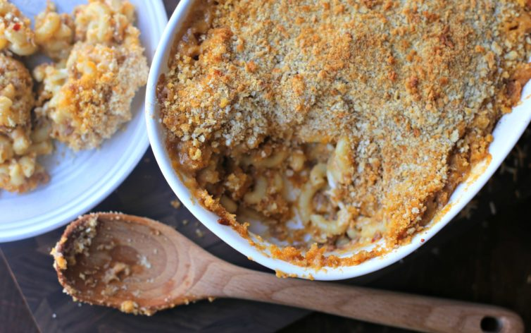 Baked mac and cheese after coming out of the oven