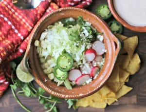 Pozole verde from above with garnishes