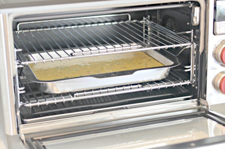 jalapeno cornbread in the oven