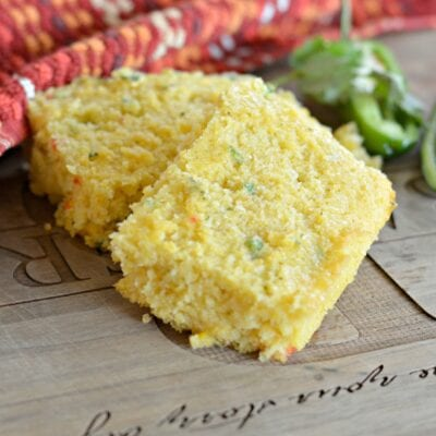 jalapeno cornbread on a cutting board
